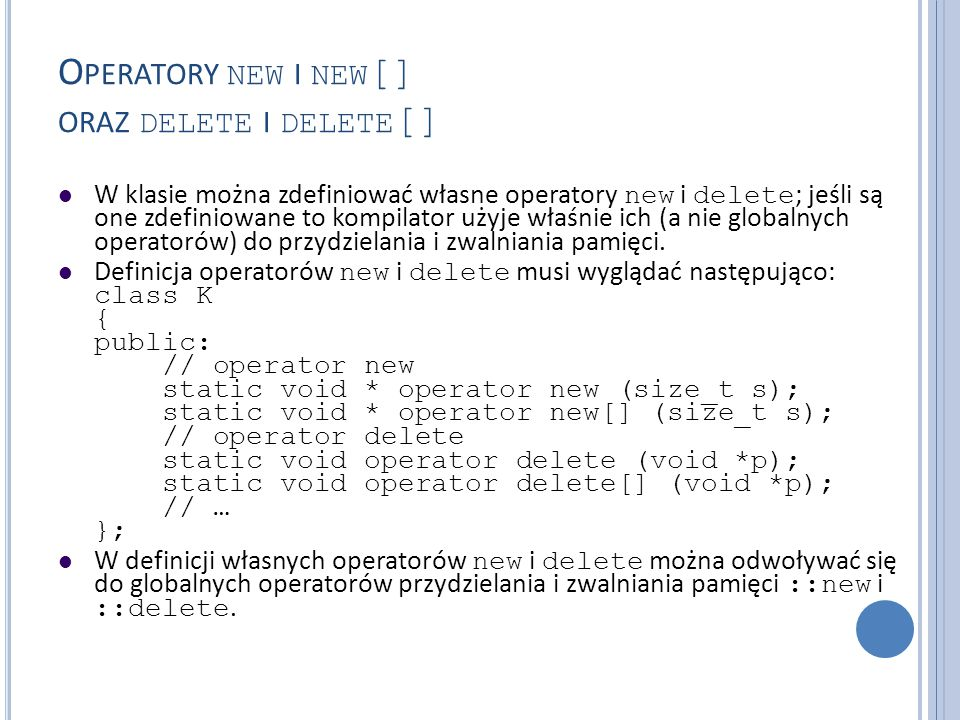 Operatory new i new[] oraz delete i delete[]